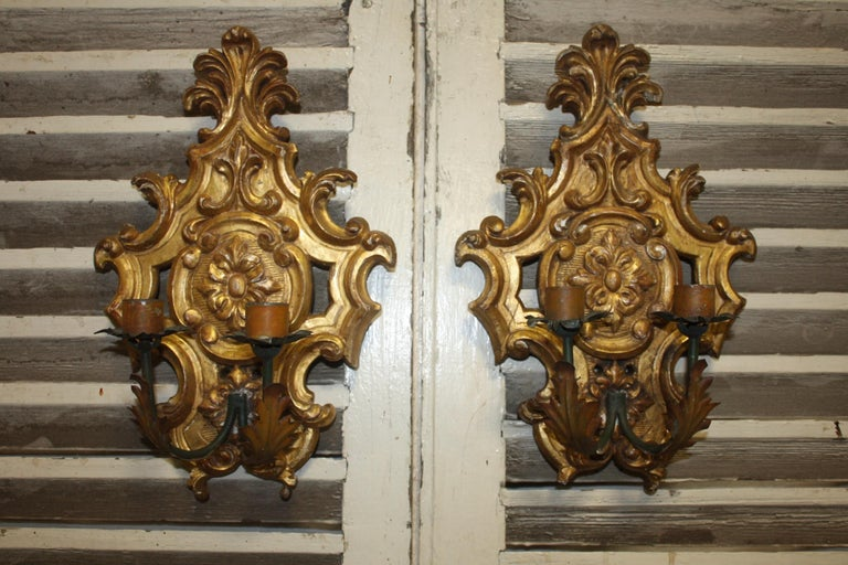 Pair of 19th century French giltwood sconces.