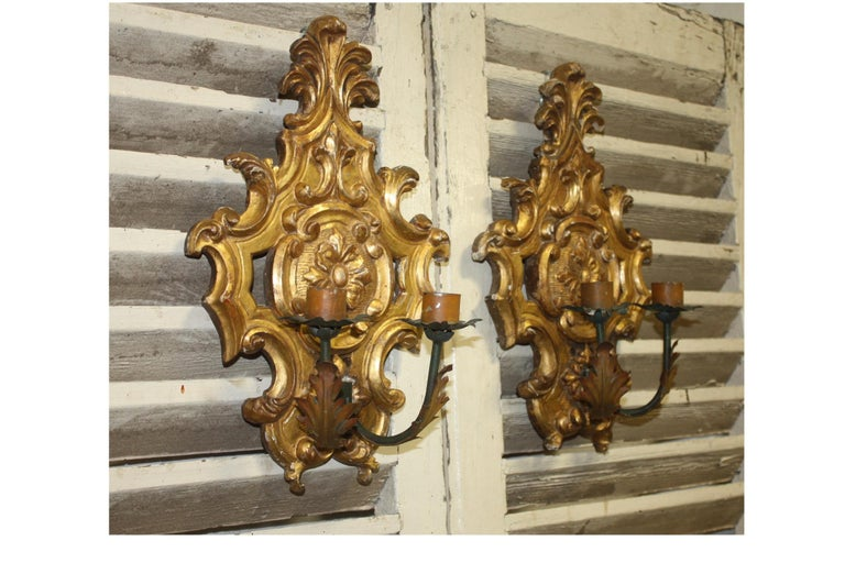 Tôle Pair of 19th Century French Sconces For Sale