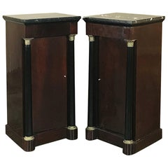 Pair of 19th Century French Second Empire Mahogany Marble-Top Nightstands