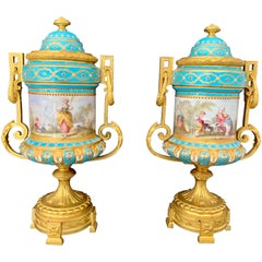 Pair of 19th Century French Sevres Style Jeweled Porcelain Urns/Vases