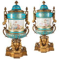 Pair of 19th Century French Sevres Style Lidded Vases