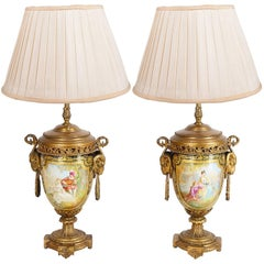 Pair of 19th Century French Sevres Style Vases or Lamps