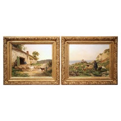 Pair of 19th Century French Sheep Oil Paintings in Gilt Frames Signed C. Quinton