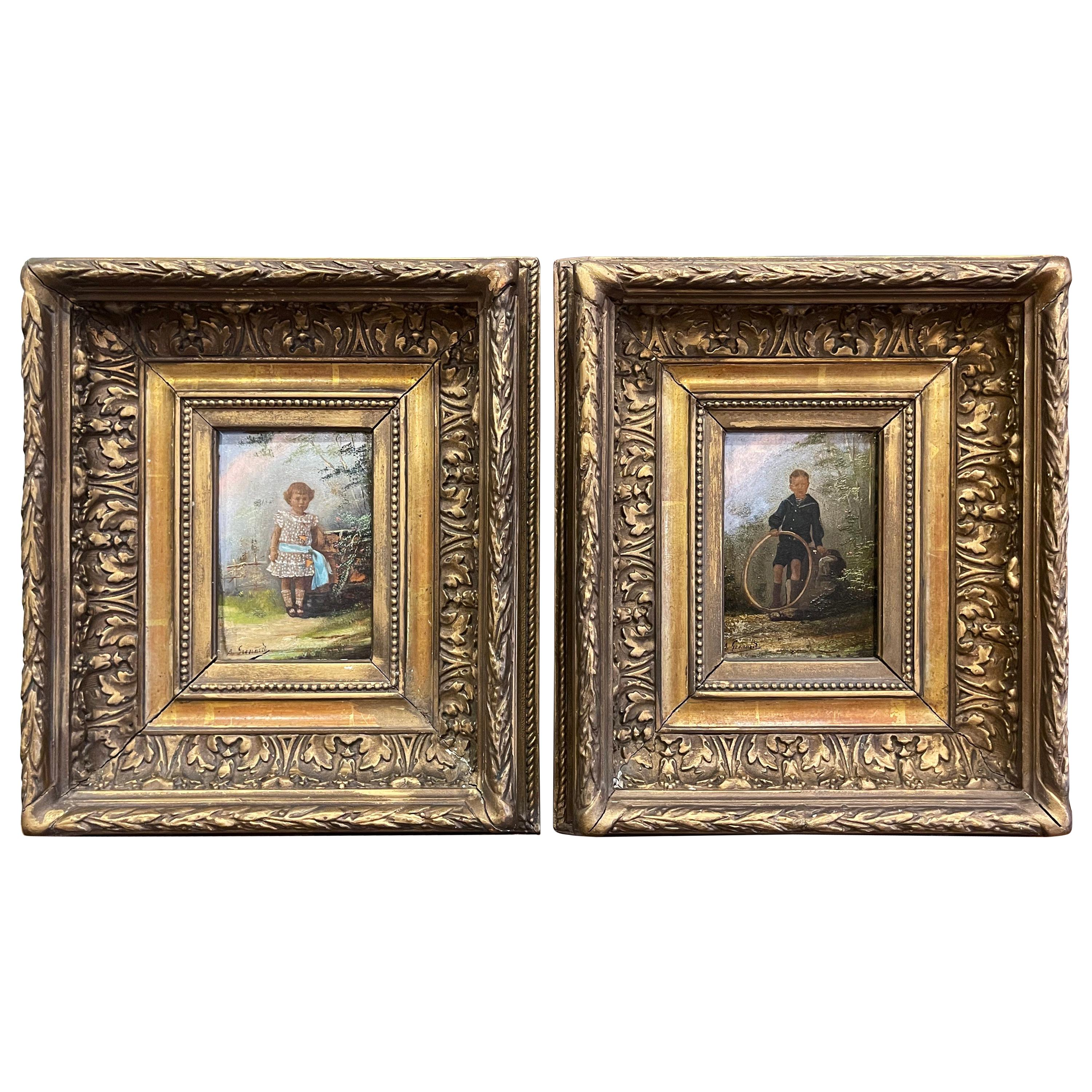 Pair of 19th Century French Signed Oil on Board Paintings in Carved Gilt Frames