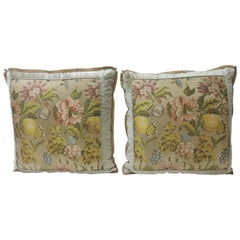 Pair of  Antique Green and Yellow French Silk Brocade Floral Decorative Pillows