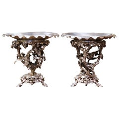 Pair of 19th Century French Silvered Bronze Compotes Signed Christofle