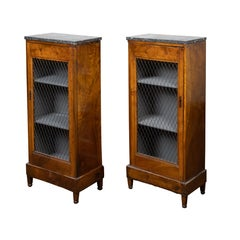 Pair of 19th Century French Small Cabinets with Marble Tops and Chicken Wire