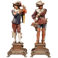 Pair of 19th Century French Spelter Hand Painted Musketeer Figures on Stand