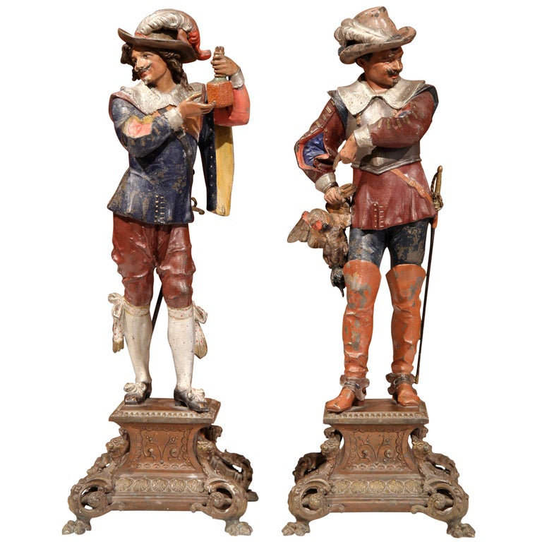 Pair of 19th Century French Spelter Hand Painted Musketeer Figures on Stand For Sale
