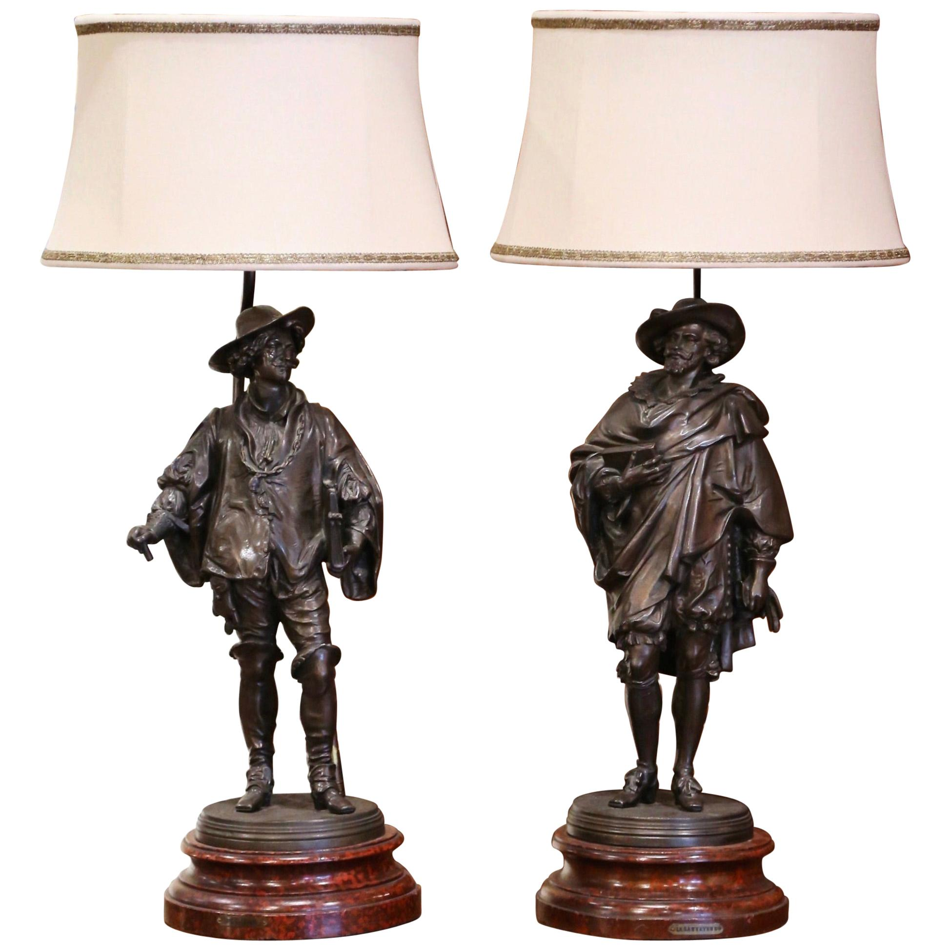 Pair of 19th Century French Spelter Renaissance Figures Made into Table Lamps