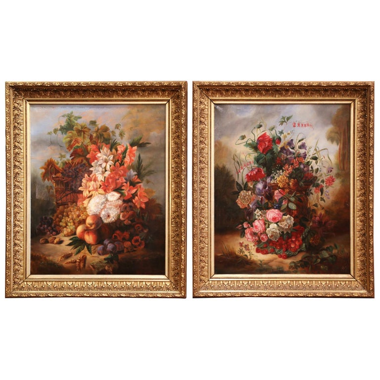 Pair of 19th Century French Still Life Flower Paintings in Gilt Frames For Sale