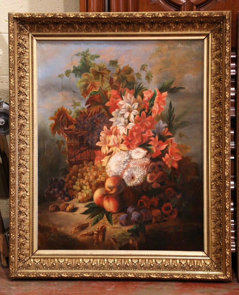 Carved Pair of 19th Century French Still Life Flower Paintings in Gilt Frames For Sale