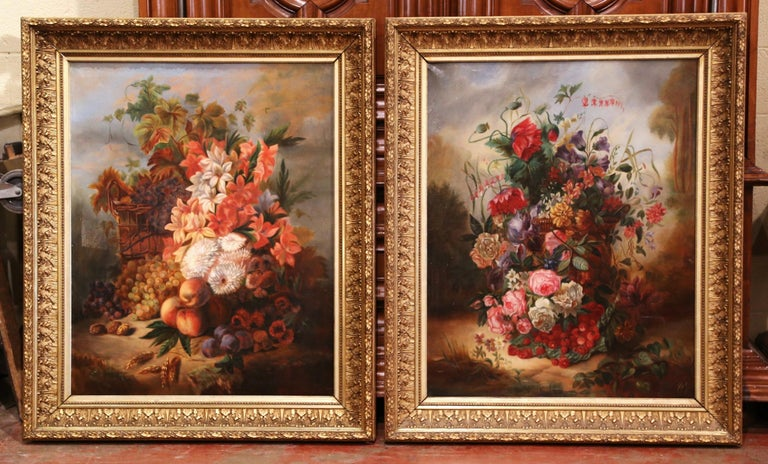 Canvas Pair of 19th Century French Still Life Flower Paintings in Gilt Frames For Sale