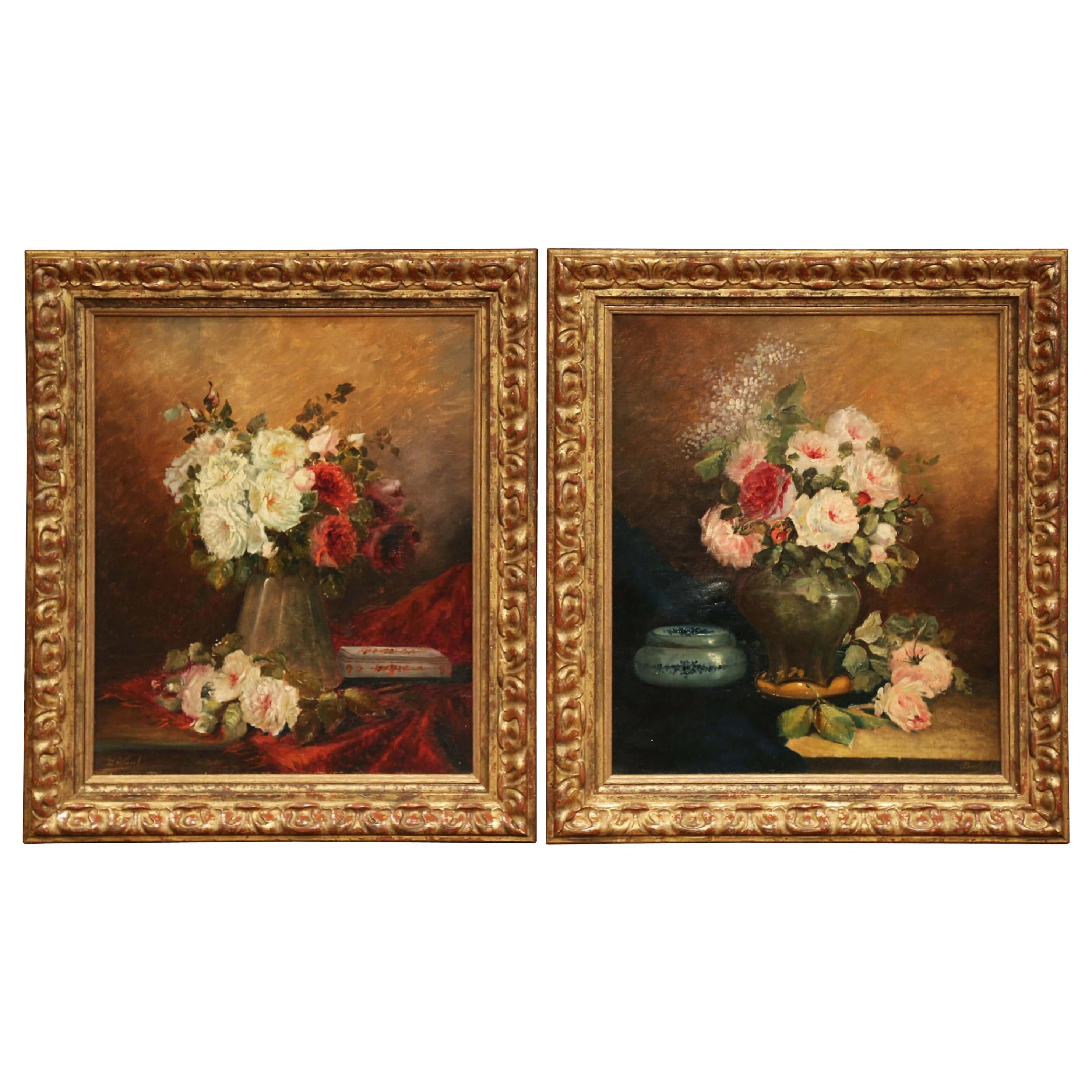 Pair of 19th Century French Still Life Flower Paintings in Gilt Frames Signed
