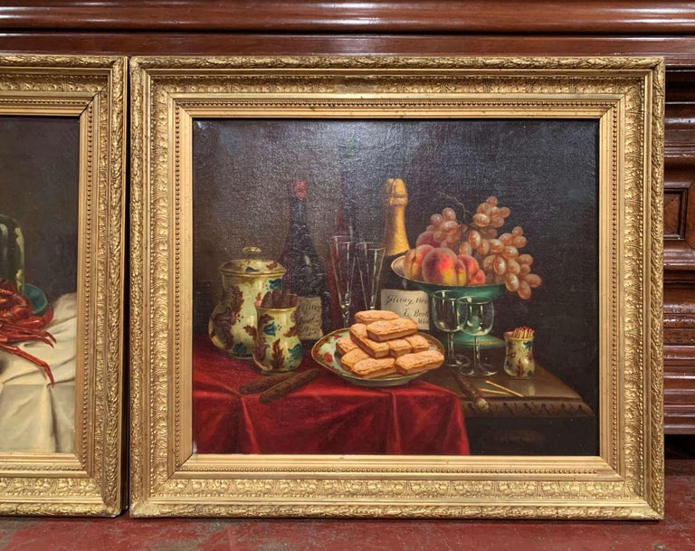 Pair of 19th Century French Still Life Oil Paintings in Gilt Frames Signed Hemet In Excellent Condition For Sale In Dallas, TX