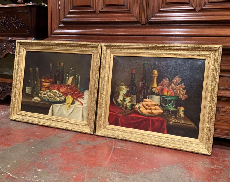 Canvas Pair of 19th Century French Still Life Oil Paintings in Gilt Frames Signed Hemet For Sale