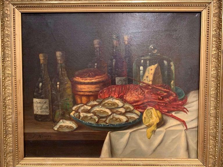 Pair of 19th Century French Still Life Oil Paintings in Gilt Frames Signed Hemet For Sale 1