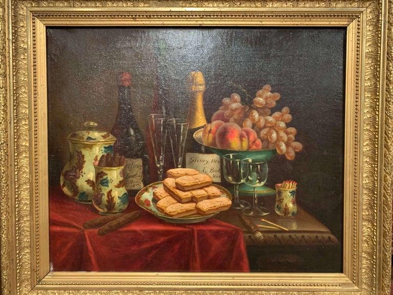 Pair of 19th Century French Still Life Oil Paintings in Gilt Frames Signed Hemet For Sale 3
