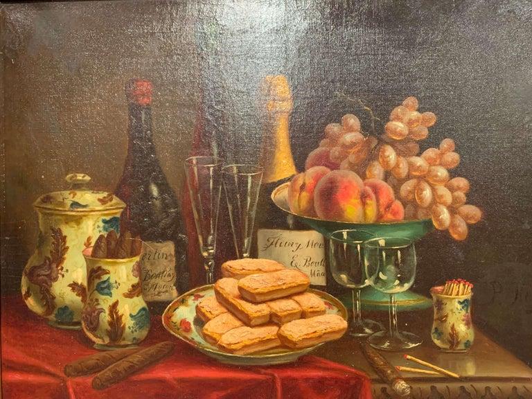 Pair of 19th Century French Still Life Oil Paintings in Gilt Frames Signed Hemet For Sale 4