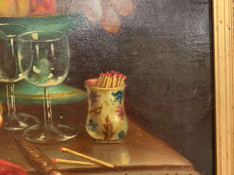 Pair of 19th Century French Still Life Oil Paintings in Gilt Frames Signed Hemet For Sale 5