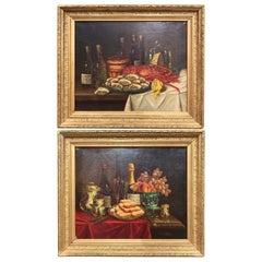Pair of 19th Century French Still Life Oil Paintings in Gilt Frames Signed Hemet