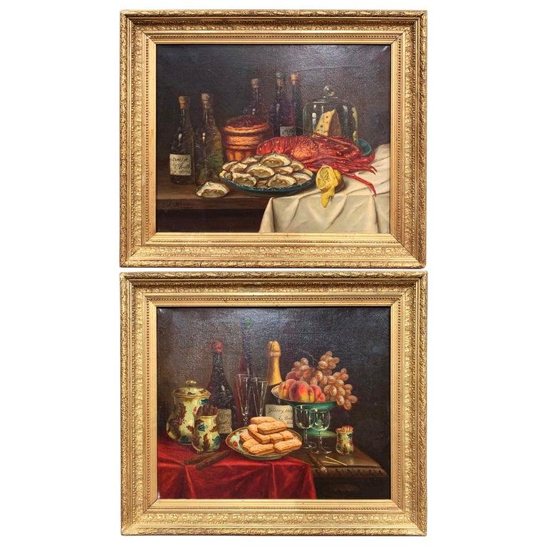 Pair of 19th Century French Still Life Oil Paintings in Gilt Frames Signed Hemet For Sale