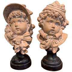 Pair of 19th Century French Terracotta Busts of Children Signed E. Guillemin