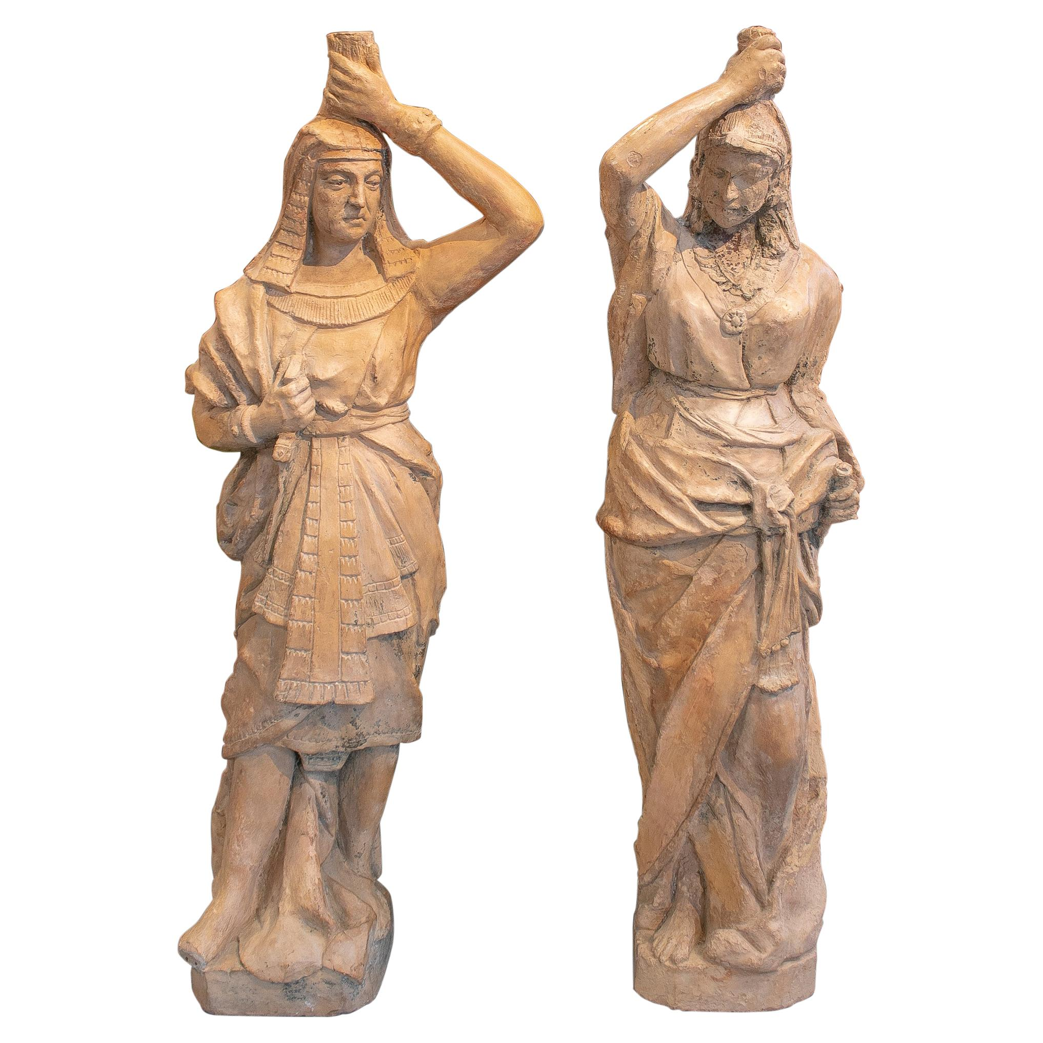 Pair of 19th Century French Terracotta Egyptian Couple Torcheres Standing Lamps