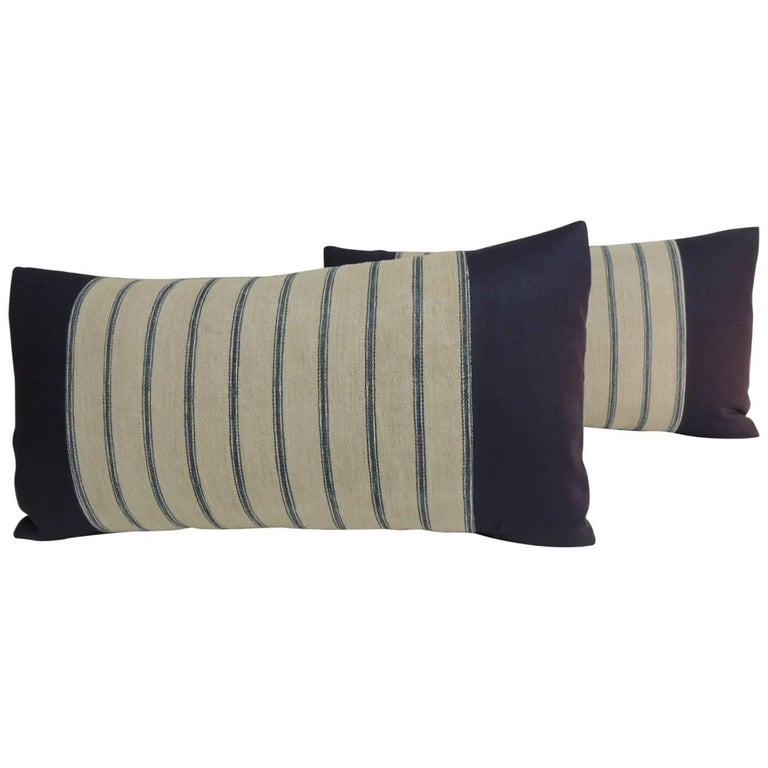 Pair Of 19th Century French Ticking Stripes Blue And Natural Bolster Pillows