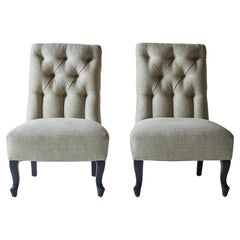 Pair of 19th Century French Tufted Slipper Chairs