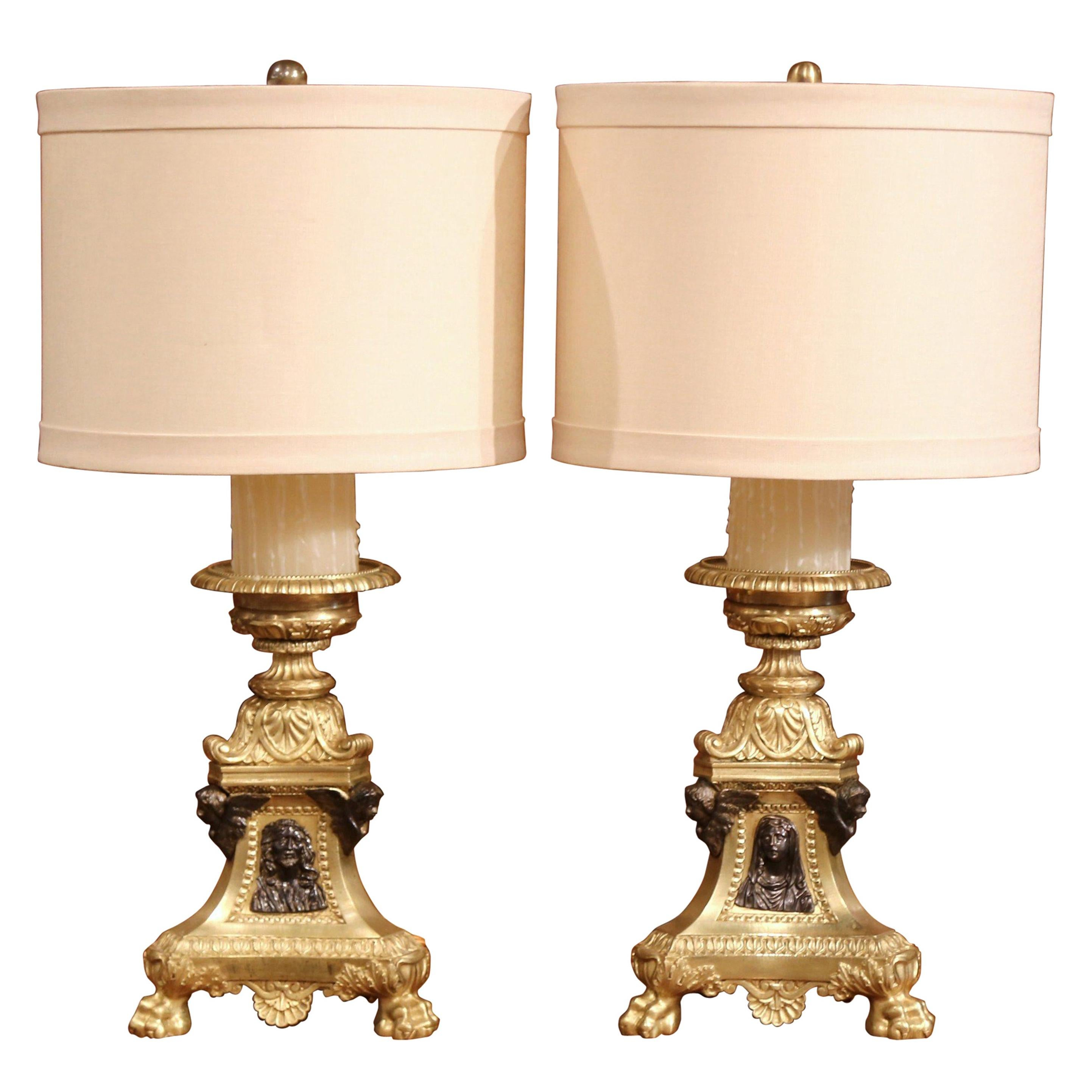 Pair of 19th Century French Two-Tone Bronze Candlesticks Made into Table Lamps