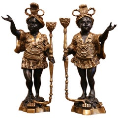 Pair of 19th Century French Two-Tone Patinated Bronze Figures Candleholders