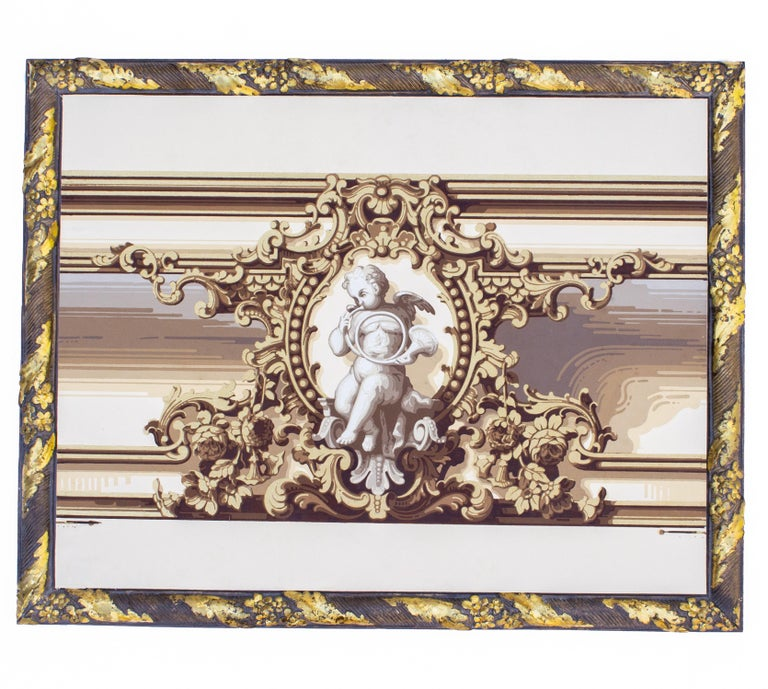 Pair of 19th century French wallpaper panels. The panels have been framed with a plaster molding. The gold leaf and painted frame coordinates to assimilate the specific wallpaper pattern. These are a matching pair with the cherubs being the