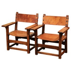 Pair of 19th Century French Walnut and Leather Armchairs from the Pyrenees