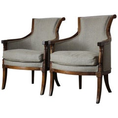 Pair of 19th Century French Walnut Bergeres