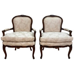 Pair of 19th Century French Walnut Louis XV Style Fauteuils, Arm Chairs