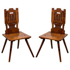 Pair of 19th Century French Wood Hall Chairs