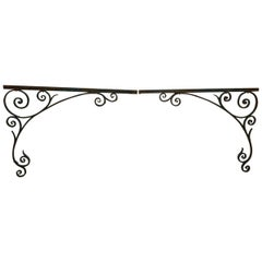 Pair of 19th Century French Wrought Iron Gate Post Corners