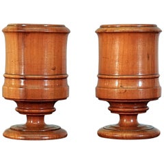 Pair of 19th Century Fruitwood Treen Goblets