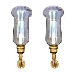 Ein Paar Hurrikan Wandlampen aus Messing oder Glas, im Stil von George II, aus dem 19. Jahrhundert