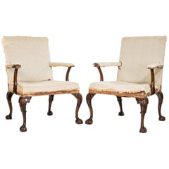 Pair of 19th Century George II Style Gainsborough Armchairs