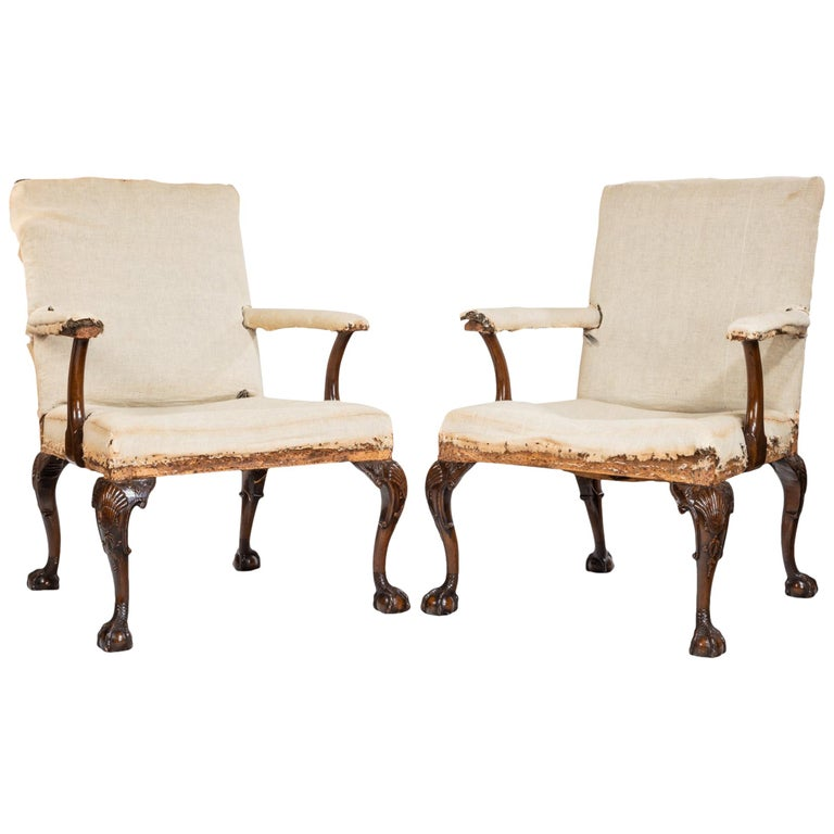 Pair of 19th Century George II Style Gainsborough Armchairs For Sale