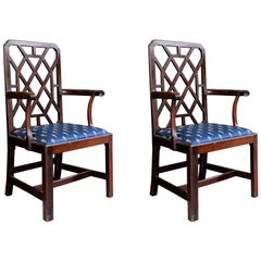 Pair of 19th Century George III Style Mahogany Hall Chairs, Tall Backs