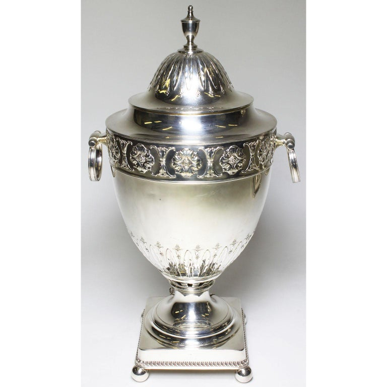 Pair of 19th Century George III Style Plated Hot Water Samovars, Elkington For Sale 4