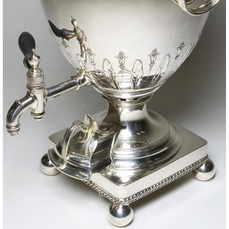 Pair of 19th Century George III Style Plated Hot Water Samovars, Elkington For Sale 5