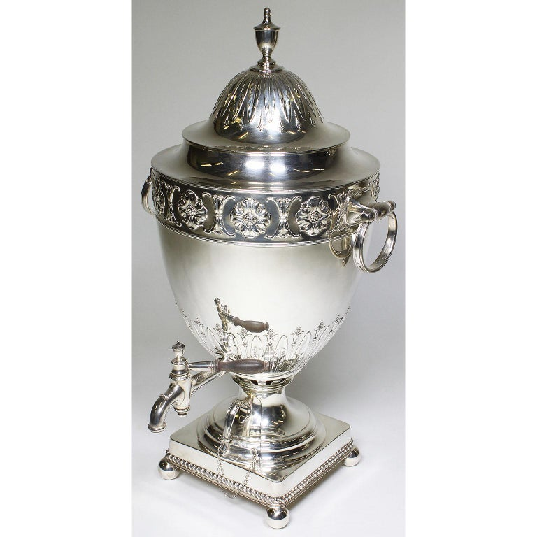 Embossed Pair of 19th Century George III Style Plated Hot Water Samovars, Elkington For Sale