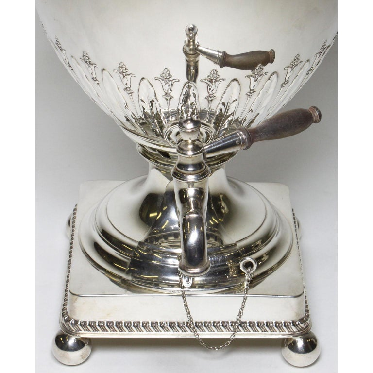 Silver Plate Pair of 19th Century George III Style Plated Hot Water Samovars, Elkington For Sale