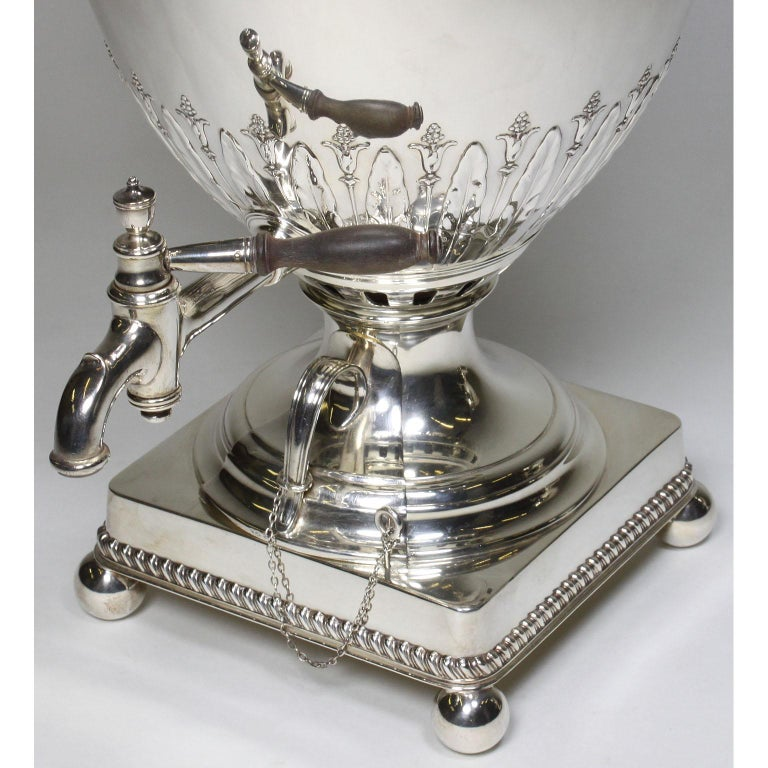 Pair of 19th Century George III Style Plated Hot Water Samovars, Elkington For Sale 2