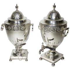 Pair of 19th Century George III Style Plated Hot Water Samovars, Elkington