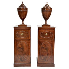 Pair of 19th Century George IV Mahogany Humidor Cabinets with Cutlery Urns